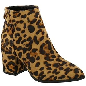 Shoes - New Leopard Chunky Heel Point Toe Booties Boots